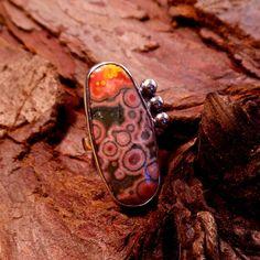 Ocean Jasper & sterling ring OOAK adjustable by RustyWing on Etsy