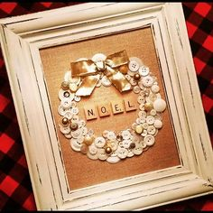 Vintage buttons on burlap, framed in a distressed wood frame with golden bow. OO… Vintage buttons on burlap, framed in a distressed wood frame with golden bow. Christmas Button Crafts, Christmas Buttons, Christmas Frames, Christmas Projects, All Things Christmas, Winter Christmas, Holiday Crafts, Christmas Gifts, Christmas Decorations