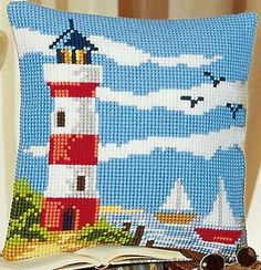 Lighthouse Cushion Front Cross Stitch Kit by Vervaco