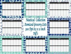 Nautical  Collection Grocery/ Shopping List with 14 Different Categories- Instant Download- Printable PDF- - pinned by pin4etsy.com