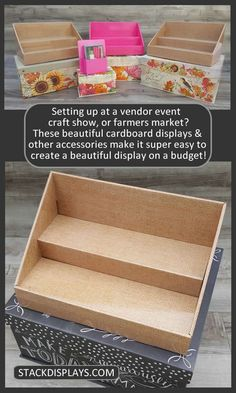 These cardboard displays are the best thing Ive added to my vendor table display. They are so professional looking and add a pop of color to my display! Soap Display, Display Boxes, Display Ideas, Display Stands, Cardboard Display, Cardboard Crafts, Paper Crafts, Vendor Table, Vendor Booth