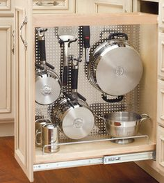 Rev-A-Shelf Kitchen, Desk or Vanity Base Cabinet Pullout Organizer w/ Perforated Accessory Hanging Panel