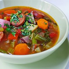 Hearty Vegetable Soup with Sausage minus the sausage hah