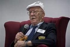 Retired U.S. Air Force Lt. Col Edward Saylor,a surviving member of the Doolittle Raiders, answers questions from Hurlburt Field Airmen at the 319th Special Operations Squadron auditorium at Hurlburt Field, Fla., April 18, 2013. The Doolittle Raid was the April 18, 1942 bombing over mainland Japan in response to the attack on Pearl Harbor.