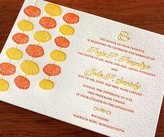 marigold letterpress wedding invitation by invitations by ajalon Floral Letterpress Wedding Invitations, Indian Wedding Invitation Cards, Indian Wedding Cards, Indian Wedding Invitations, Diy Invitations, Wedding Invitation Design, Invites, Indian Weddings, Wedding Reception Signs