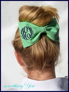 Monogrammed Fabric Hair Bow  Solid Color by SomethingYouGifts