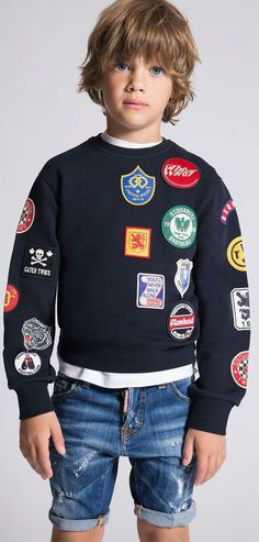 737127424d6d81 DSQUARED2 Kids Navy Blue Badges Sweatshirt for Spring Summer 2018. Covered  in fabric