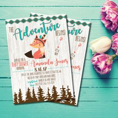 Adventure Boy Baby Shower Invitation | Fox Baby Shower Invitation | Woodland Baby Shower Invitation | Tribal Baby Shower Invitation This listing is for a PRINTABLE one-sided Baby Shower invitation for you to print at home or print through a print shop. This card comes as 4x6 or 5x7. *Let me know if you want a different color font, I can change it for you at no additional charge. Everything is sent through email only for you to print yourself. Nothing will be shipped to you, so no more…