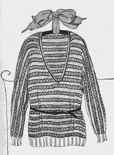 1920s flapper sweater knitting pattern PDF - Icelandic Striped Slip-On