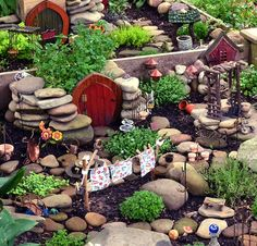Image result for fairy village rock garden