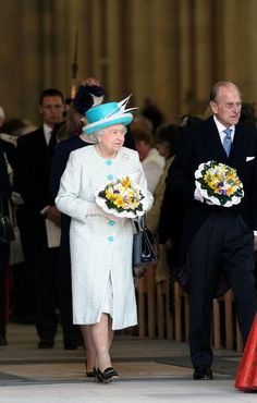 Queen Elizabeth II and the Duke of Edinburgh, attended Maundy Thursday Service at York Minster on April 5, 2012.