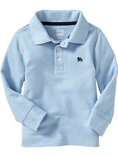 Long-Sleeve Pique Polos for Baby