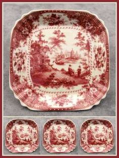 4 PORCELAIN RED & CREAM VICTORIAN TOILE TRANSFERWARE DINNER ROLL BREAD PLATES