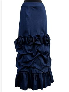 Dark Denim Rosette Layer Skirt by beautiful one modest Modest Dresses, Modest Outfits, Classy Outfits, Modest Fashion, Skirt Fashion, Hijab Fashion, Cool Outfits, Fashion Outfits, Apostolic Fashion