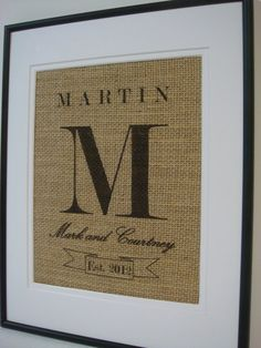 Personalized Custom Wedding Anniversary by burlapartbyelizabeth #burlap #craft #diy #project #monogram #initial #gift