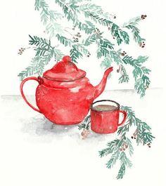 original watercolor red teapot Christmas painting