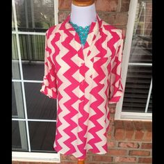 "Pink Chevron Tunic ADORABLE tunic with split side detail at hem, single pocket and roll tab sleeves.  Button detail in back with Mandarin style collar.  This shirt is precious!  26.5"" from top of front collar to hem. Xtaren Tops Tunics"