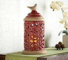 16.5 Ceramic Hurricane with Flameless Candle by Valerie