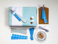 gift tag kit blue  wedding favor  bridal shower  by magdalenarose, $7.00