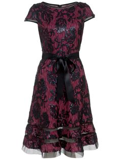 Adrianna Papell Sequin Embroidered Dress, Rhubarb