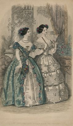 fripperiesandfobs:  oldrags:  March ballgowns, 1839 US, Godey's Lady's Book  1839? Maybe 1849.  It does seem wrong, doesn't it? The art style doesn't even match. The source had it labelled as 1839, but that could have been an error. I'll check around and see if I can find the actual date.