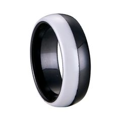 Brand New Ceramic Shiny Ring Half White Ceramic & Half Blacke