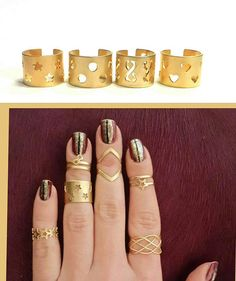 Gold stacking rings Knuckle ring Band ring Tube ring Gold