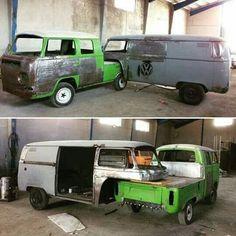 Volkswagen Pickup With Trailer Kombi Trailer, Vw Caravan, Truck Camper, Trailers, Vw T3 Syncro, T3 Vw, Volkswagen Bus, Cool Trucks, Cool Cars