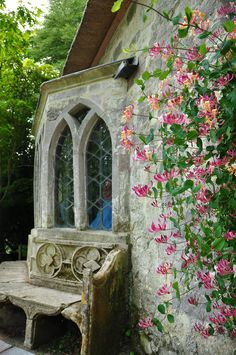 honeysuckle Window of the Gothic Cottage at Stourhead Garden, Wiltshire, with Stone Seat & Honeysuckle ~ Photo by Margaret Stranks Cottages Anglais, Dream Garden, Home And Garden, Exterior, Architecture, Cottage Style, Garden Inspiration, Beautiful Gardens, Beautiful Flowers
