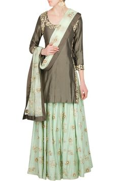 brown kurta, gold embroidery, mint sharara, gold scattered motifs, mint and brown dupatta