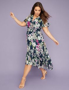 e7e19fb988c69 V-Neck Floral Fit & Flare Maxi Dress. Floral ChiffonLane BryantRuffle ...