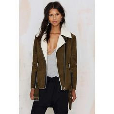 J.O.A. Suede Vacation Shearling Jacket (192 CAD) via Polyvore featuring outerwear, jackets, green, green jacket, ribbed turtleneck, shearling biker jacket, shearling moto jacket and suede leather jacket