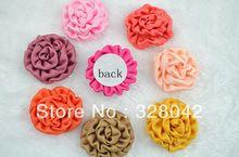 Para Trail 1.5 ''belleza DIY hechos a mano rosa flores de hojaldre de seda/tela Del Pelo SIN clip de accesorios para el cabello 24 unids/lote(China (Mainland))