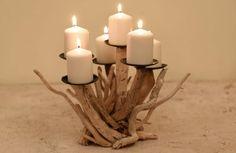 Stunning scuptural candelabra!Driftwood candle holder,driftwood candelabra,driftwood decor,sculpture,beach decor,coastal decor,wedding decor driftwood art,driftwood home decor by DriftwoodAndPebbles on Etsy