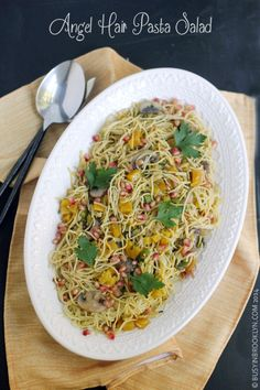 Angel Hair Pasta Salad with leeks, mushrooms, golden beets and pomegranate seeds. Versatile dish that goes great with fish or chicken. Use spaghetti squash for a no-carb version!
