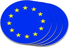 """Amazon.com: Custom & Cool {4"""" Inches} Set Pack Of 4 Round Circle """"Grip Texture"""" Drink Cup Coasters Made of Plastic w/ Cork Bottom w/ EU European Union Country Travel Flag Design [Colorful Yellow & Blue]: Home & Kitchen"""
