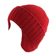7a0c44f4090e6 Amazon.com  Home Prefer Mens Winter Knit Earflap Hat Cuffed Beanie with  Ears Warmer Black  Clothing