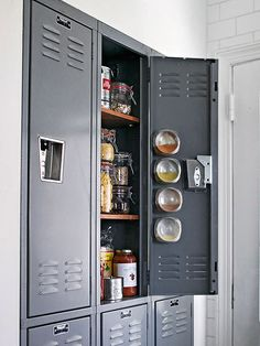 Locker-Style Pantry - Add a youthful, unique element to your kitchen by transforming metal lockers into a makeshift pantry. Combined with wooden shelves, the lockers provide adequate storage space and also bring a style to an eclectic kitchen.