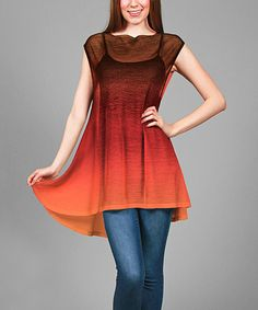 Another great find on #zulily! Orange & Red Sheer Ombré Tunic - Plus #zulilyfinds