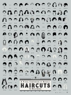 "This website is too funny!  There are some really great prints on here!  ""A Visual Compendium of Notable Haircuts in Hollywood"""