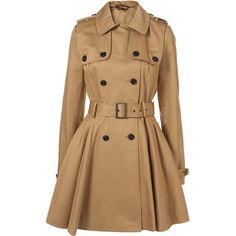 Light Stone Double Storm Flap Trench Coat (650 BRL) ❤ liked on Polyvore featuring outerwear, coats, jackets, casacos, tops, women, beige trench coat, full skirted trench coat, belted coat and full skirt