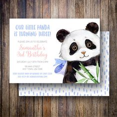 Panda Birthday Party Invitation, Watercolor Panda Birthday Party Template, Panda Bear Birthday Card in Blue, Coral, Green - Spotted Gum Design - Etsy