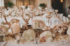I love the idea of rustic yet elegant for any event...  Glamorous Elegant Rustic Wedding Tablescape. Incorporate salmon/coral