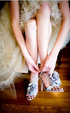 Something Blue - This bride is a shoe designer and created her shoes based on a similar style she did for Badgley Mischka
