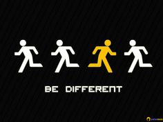 Dare to be different find things that stand out such as the yellow person in this image... good campaigning motto