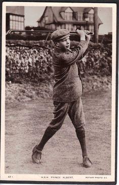 Golf Photo Postcard of H R H Prince Albert About 15 yrs A K A King George VI