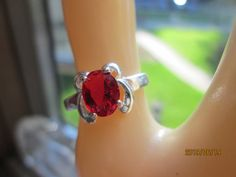 Vintage Beautiful Designer 1.21ctw Red Ruby Sterling Silver 925 Retro Ring Size 6,5, Weight 2 Grams