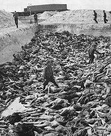 Dr. Fritz Klein stands amongst corpses in Mass Grave Bergen-Belsen..this was so terrible.