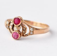 Antique Ruby Rings: Ruby Paste, Pearl & 18K Gold, Size 6.75 by BlueRidgeNotions on Etsy https://www.etsy.com/listing/243351054/antique-ruby-rings-ruby-paste-pearl-18k