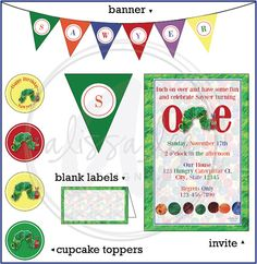 Very Hungry Caterpillar Birthday Party Package by AlissaLeeDesigns, $30.00